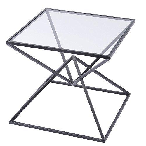 Azura Home Style Noir Pyramid Table d'appoint | Unique Extrémité carrée Tables pour le salon et chambre à coucher | Design moderne en métal avec plateau en verre clair