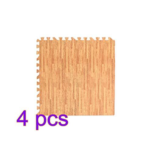 Vosarea 4 Stück Puzzle Übungsmatte mit quadratischem Schaumstoff, Eva, zum Verschließen von Bodenschutz, für Gymnastikausrüstung und Kissen für Trainingseinheiten (helle Holzkorn) -