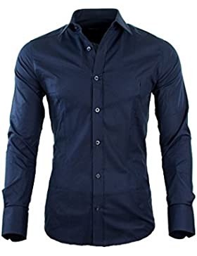 Redbridge by CIPO & BAXX Slim Fit Hemd Polo Shirt Kentkragen Polo Verschiedene Farben (2XL, Navy)