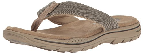 Skechers USA Men's Evented Rosen Flip Flop, Khaki, 14 M US
