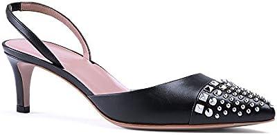 Bomba de charol de tacón medio de cuero negro tachonado Gucci - Número de modelo: 370443 C9D00 1000