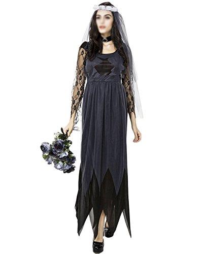 ut Kleid Kostüm Vampir Cosplay Karneval Fasching Kostüm Schwarz M (Halloween Braut Kleid)