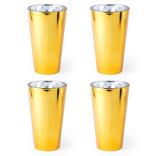 eBuyGB Moderner Highball-Trinkbecher für Wasser/Saft, Weinglas, 480 ml, glas, gold, 4 Stück -