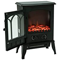 HOMCOM Freestanding Electric Fireplace Heater Realistic with LED Flame Effect 1000W/2000W