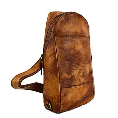Mens waist leather shoulder bag hobo bag travel back sling satchel brown backpack leather backpack leather sling washed leather - handmade-bags