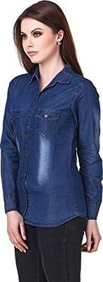 Trendy Frog Women Long Sleeve Monkey Wash Denim Shirt Top, Blue, Medium Size
