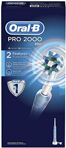 Oral-B Pro2000 - Cepillo de dientes eléctrico recargable, mango, 2 modos incluyendo cuidado de las encías y cabezal de cepillo de dientes, tecnología Braun