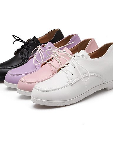 ZQ Scarpe Donna - Stringate - Ufficio e lavoro / Formale - Punta arrotondata - Zeppa - Finta pelle - Nero / Rosa / Viola / Bianco , purple-us10.5 / eu42 / uk8.5 / cn43 , purple-us10.5 / eu42 / uk8.5 / black-us8 / eu39 / uk6 / cn39