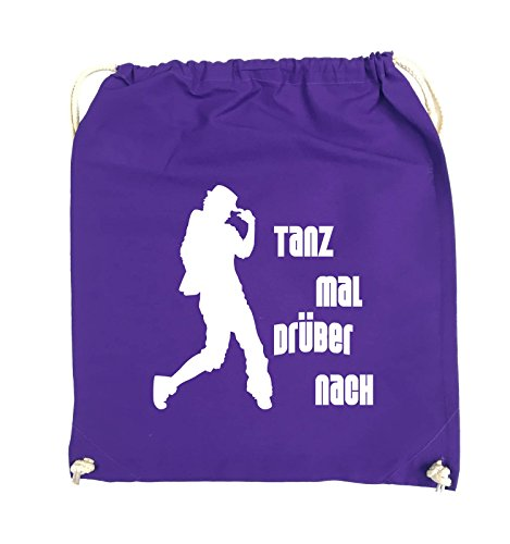 Comedy Bags - TANZ MAL DRÜBER NACH - FIGUR - Turnbeutel - 37x46cm - Farbe: Schwarz / Silber Lila / Weiss