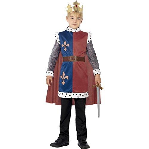 Arthur Kostüm - Mittelalter Prinz Kostüm Kinderkostüm König Arthur mit Krone S 4-6 Jahre 110-128 cm Adeliger Ritter Königssohn Verkleidung Märchenprinz Tunika mit Umhang Karnevalskostüm Jungen