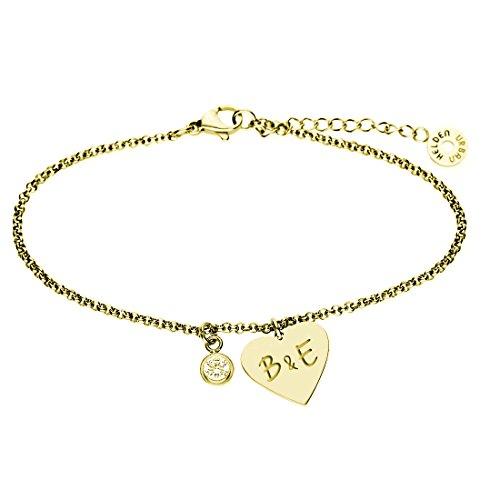 URBANHELDEN - Armband mit Herz Anhänger und Wunschgravur - Damen Schmuck Herzarmband Verstellbar, Edelstahl - Armschmuck Armkette Gravur Initialen - Gold G19