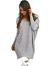 700af0c5b137 Yidarton Pull Femme Tops Col V Manches Longues Casual Casual Shirt Robe  Tunique Oversize