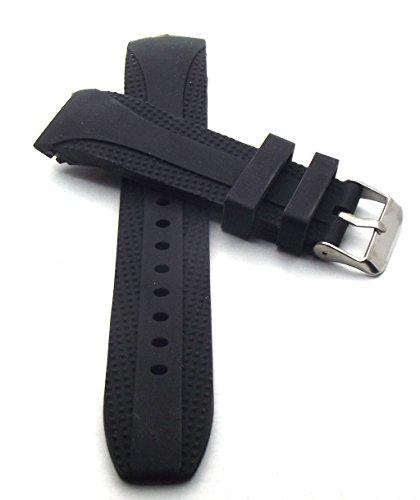 22 mm Uhrenarmband Silikon Taucher Uhrenband schwarz Armband mit Rundanstoß