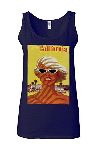 California Sexy Girl Summer Novelty White Femme Women Tricot de Corps Tank Top Vest Bleu Foncé