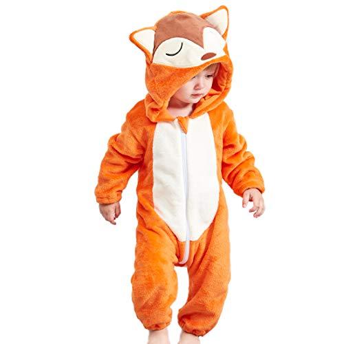 GWELL Kinder Baby Tier Kostüme Tieroutfit Cosplay Jumpsuit Schlafanzug Mädchen Jungen Winter Nachtwäsche Strampler Fuchs 100