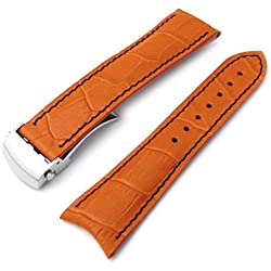 20mm CrocoGrain Orange Semi-Curved Lug Roller Deployant Watch Strap, Blue Stitching, P