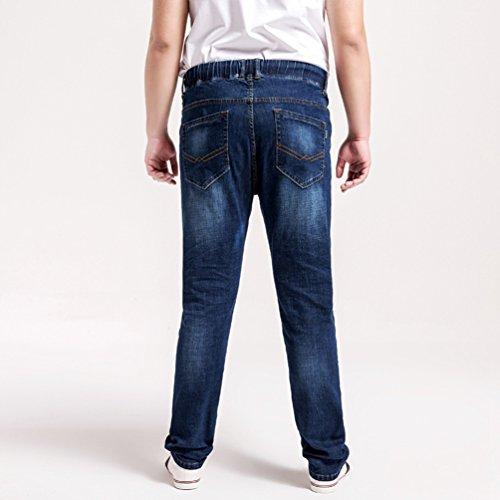 Sentao Herren Mode Jeans Hose Elastizität Taille Vintage Hose Denim Plus Größe Freizeithose Dunkel Blau