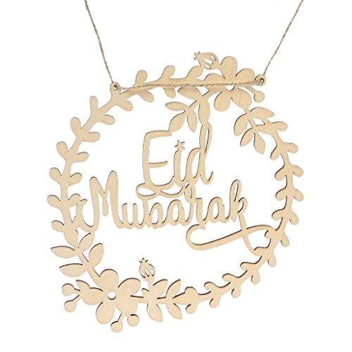 Senoow 5 Stücke Hohl DIY Unfinished Holz Ornament Eid Mubarak Hängende Dekoration Handwerk (Ornamente Unfinished Holz)