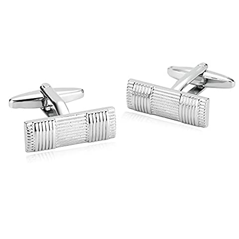 AMDXD Jewelry Stainless Steel Cufflinks for Men Parallel Lines Silver