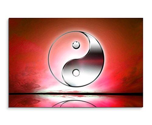 Wandbild 120x80cm Naturfotografie – Yin und Yang Zeichen mit roten Hintergrund auf Leinwand für Wohnzimmer, Büro, Schlafzimmer, Ferienwohnung u.v.m. Gestochen scharf in Top Qualität