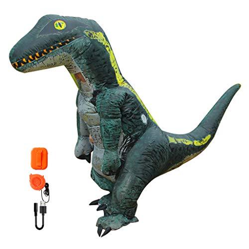 Baoblaze Velociraptor Dinosaurier Aufblasbares Kostüm Fatsuit Luft Anzug für Cosplay Party und Fasching