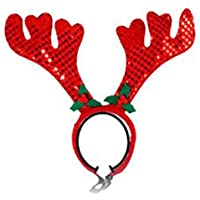 Hauggen1 Cute Pet Supplies Navidad Pet Red Antler Diadema Banda para el Cabello