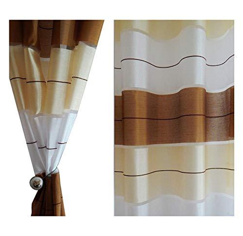Tenda a occhiello semitrasparente sciarpa a occhiello sciarpa sciarpa decorativa per finestra tenda decorativi a colori strisce balcone di 2 tende con occhielli 145x245 cm agv v10