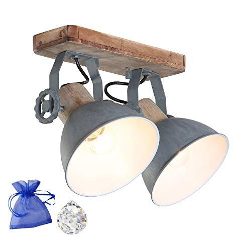 Deckenleuchte Holz Metall Grau 2-flammig E27 Spot Wandleuchte im industriellen rustikalen Vintage Look 7969GR + Kristall Kugel GiveAway -