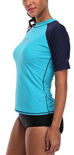 Attraco Damen Schwimmshirt Kurzarm UV Shirt Rash Guard Badeshirt UPF 50+ Blau