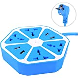DFS Multipurpose 4 USB HEXAGON POWER SOCKET Extension Plug Electrical Outlet | Blue Color