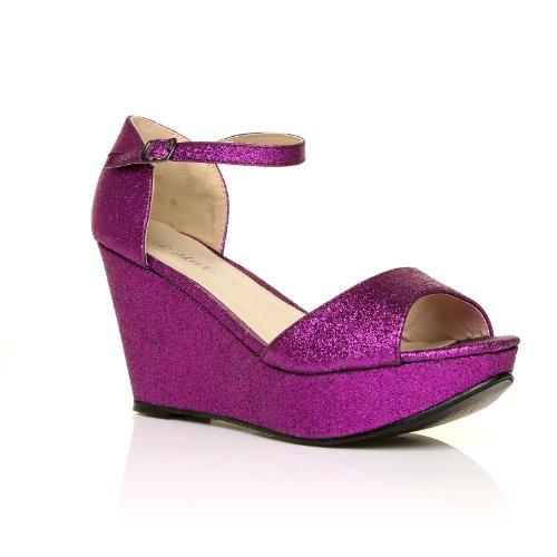 Scarpe con Tacco a Zeppa molto alto e Plateaux aperte in punta, Brillantini Viola, LACIE Brillantini Viola