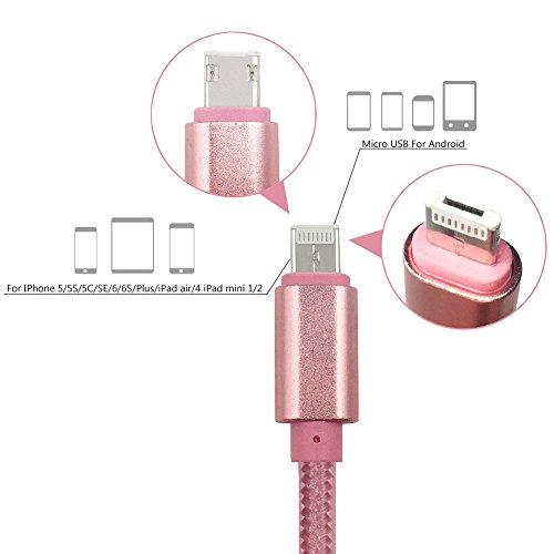 Ein Stecker USB Kabel für Android und iPhone, 3.3ft Reversible Micro USB ladekabel und Blitz-Kabel Nylon Geflochtene 2 in 1 Beigetreten Cord Sowohl Gebühr und Datenübertragung für Android / iOS / GPS / MP3( rosa) (Richtung 4 Fällen Ipod Eine)