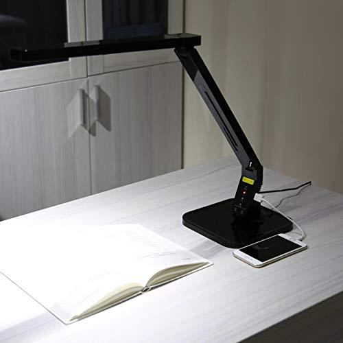 DULIMEI Multifunktionale Schreibtischlampe Dimmbare LED Schreibtischlampe USB Ladelampe Sensitive Touch Augenschutz Faltlampe Geburtstagsgeschenk,Black -