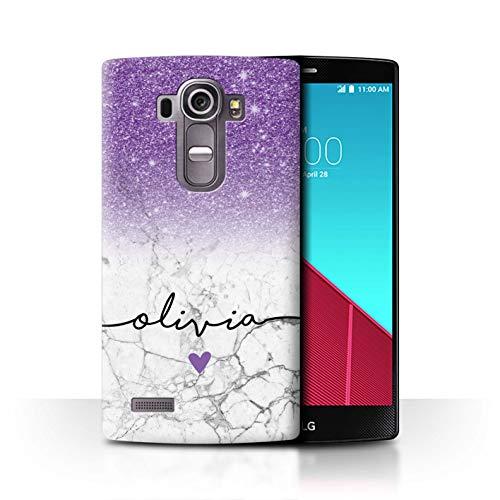 eSwish Personalisiert Individuell Handschrift Glitter Ombre Hülle für LG G4 Beat/H735 / Lila FunkeIn Weißer Marmor Design/Initiale/Name/Text Schutzhülle/Case/Etui (Beats Glitter Skins)