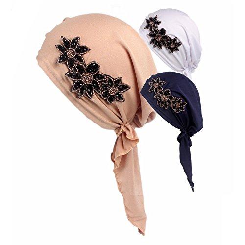 Ever Fairy® 3 Colors Pack Chemo Cancer Head Scarf Hat Cap Ethnic Cloth Rhinestone Turban Headwear Women's Ruffle Beanie Scarf