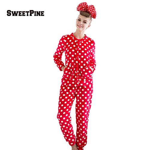Prima05Sally SWEETPINE Zweiteiliger, atmungsaktiver Flanell-Pyjama mit Langen Ärmeln