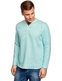 53d2b5aacf oodji Ultra Hombre Camisa de Lino sin Cuello
