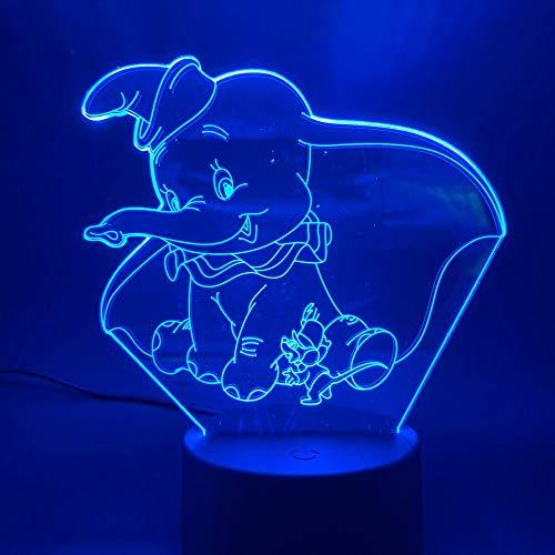 Fengdp 3D LED Lámpara de Luz Nocturna Dumbo Lindo Bebé Luz Nocturna Que Cambia de Color Decoración Interior Niños Chica Niños Niño Regalo 3D Lámpara Elefante