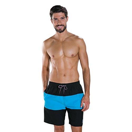 Speedo Herren Panel Leisure 18 Zoll Bade-Shorts, Schwarz/Windsor-Blau, XL