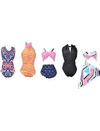 E-TING 5 Sets Bikini Costumi da Bagno Vestiti Abiti per Bambola della Ragazza (Swim Style C)(la Bambola Non Include)