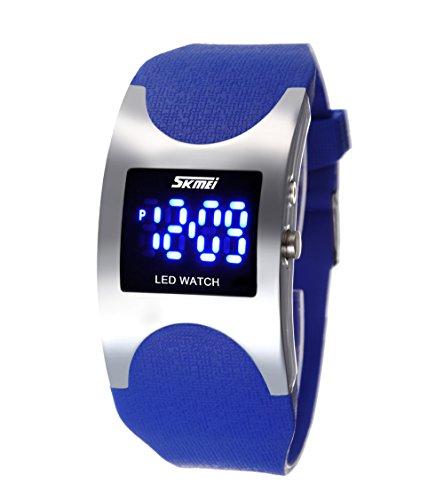 ufengke® cas en forme d'arc créatrice de mode a conduit montre à bracelet imperméable de gelée,les enfants de lumière de nuit silicone bande cadeau poignet montre à bracelet,bleu