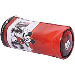 HMI Original Disney & Marvel Licensed PVC Pencil Pouch / Pencil Bag, Round Cylindrical Shaped (Mickey Mouse Red)