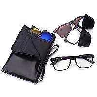 Set 5 in 1 Polarized Mirror Lens Magnet Clip on Sunglasses 1 Optical Frame & 5 Multi Color Lens Set