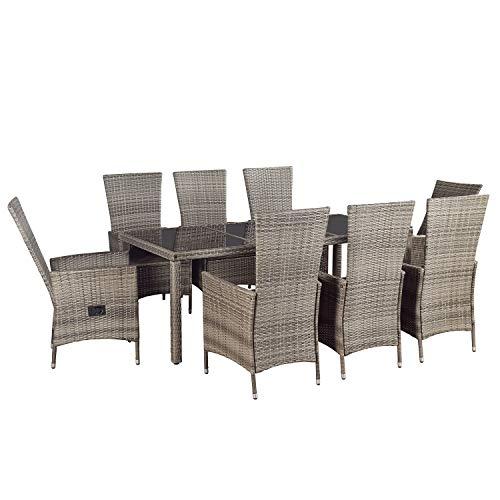ArtLife Polyrattan Essgruppe Rimini Plus grau-meliert | dunkelgraue Bezüge | Gartenmöbel-Set mit Tisch & 8 Stühlen | Sitzgruppe Rattanmöbel