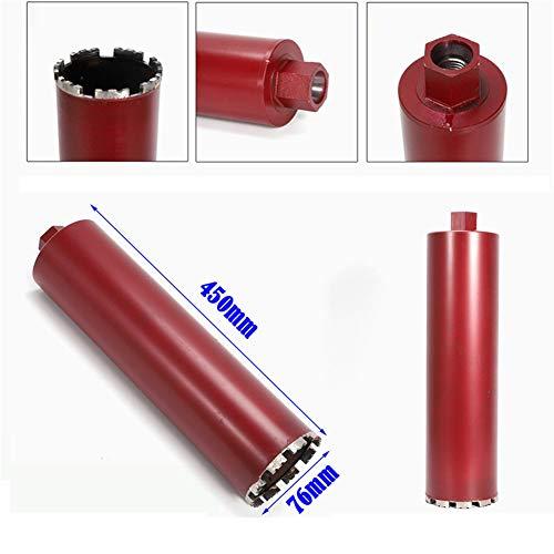 YIYIBY Diamant-Bohrkrone Kernbohrgerät für Kernbohrgerät Ø 76 mm Kernbohrer Naß- und Trocken NL 450 mm (76mm)