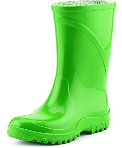Ladeheid Kinder PVC Gummistiefel Regenstiefel KL002BW (Grün, 33/34 EU) - Grüne Gummistiefel