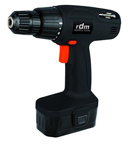 Taladro atornillador a batería profesional RDM Quality Tools 70005, 12V, giro reversible, velocidad regulable, botón de bloqueo, selector atornillador/taladro. Color negro y naranja.