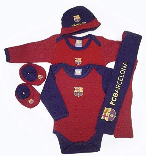 Pack recién nacido bebé Fútbol Club Barcelona.100% algodón.Contenido:Patucos2 bodys1 bufanda1 gorritoProducto oficial.