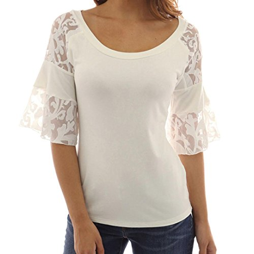 Damen Bluse, Beikoard Damen Slim Shirt Solid Color Lace halb lose Ärmel O-Neck Bluse Casual Tops T-Shirt (Weiß, S) (Damen Solid Slim Blusen)