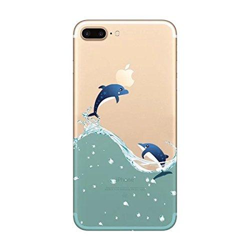 iPhone 7Coque [avec gratuit Protection d'écran en verre], Ultra mince TPU doux Coque pour Apple iPhone 7, coloré Motif Jelly Coque de protection pour iPhone 7, plastique, Cat1, Iphone 7 Plus 5.5 inch Delphis